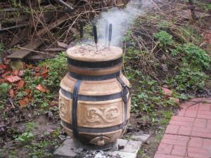 Шашлык в тандыре, во время готовки